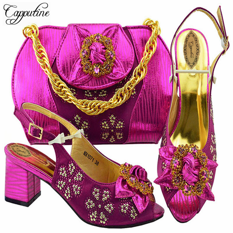 Capputine High Quality African Style Shoes And Purse Set New Fashion Woman Pumps Shoes And Bag Set For Party On Stock M1071 africa style pumps shoes and matching bags set fashion summer style ladies high heels slipper and bag set for party ths17 1402