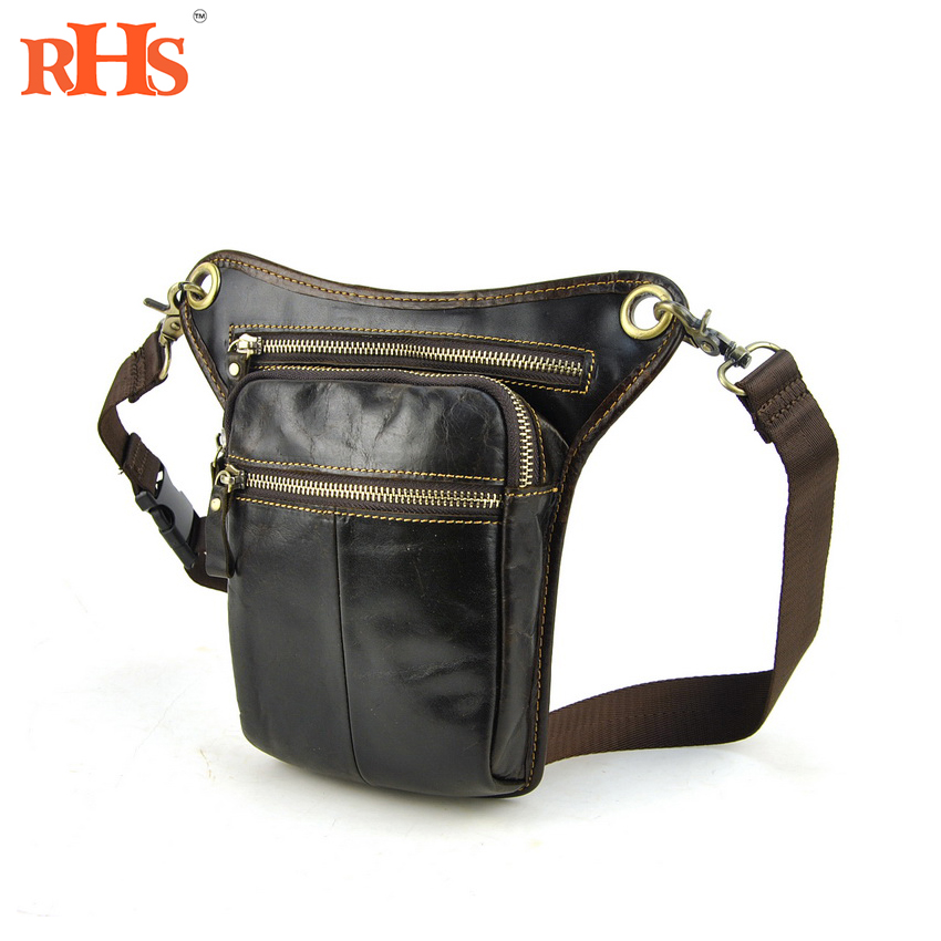 Unisex Bag Cool Men Motorcycle Leg Bag Genuine Real Leather Waist Pack CellPhone Purse