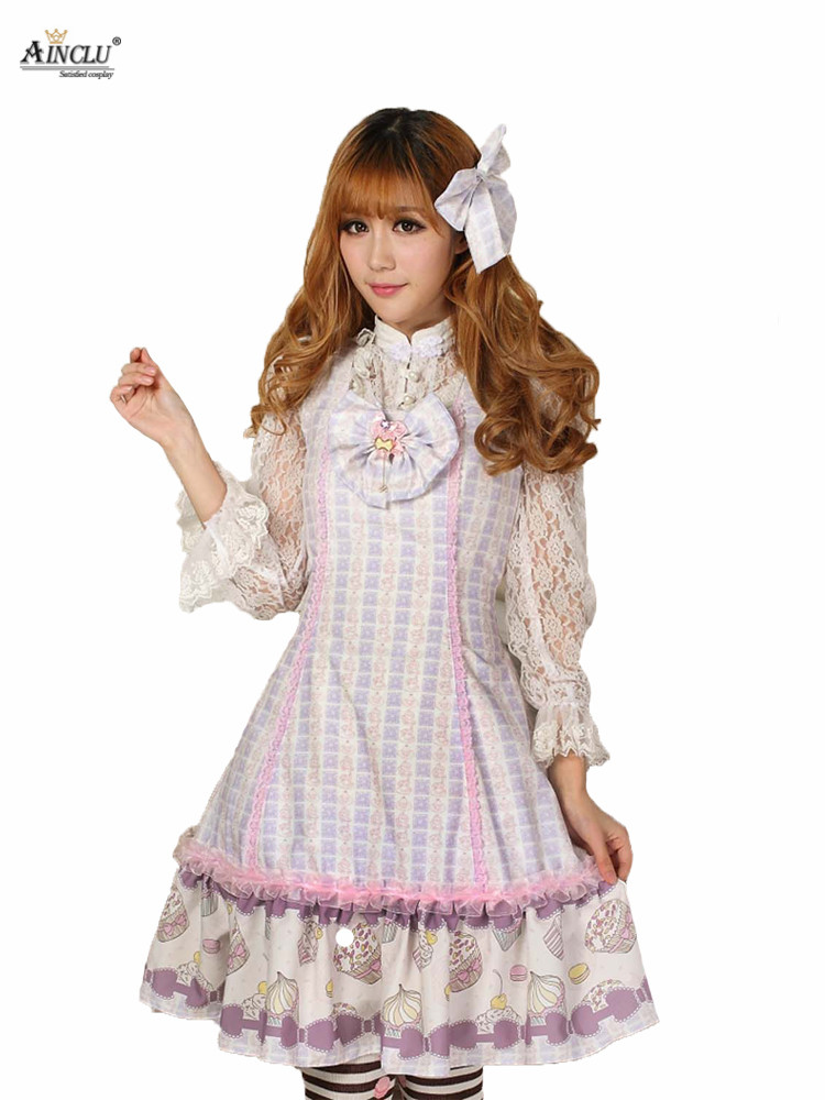 Ainclu Sweet Women's Pink Easter Polyester Slim Ladylike Princess Strap <font><b>Lolita</b></font> <font><b>Dress</b></font> image