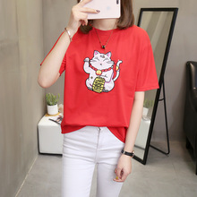 Summer Women Loose Embroidery O-Neck Fortune Cat Ins Style Female T-shirt Sweet Lovely Plus Size Lady Top 3-color F4 цена и фото