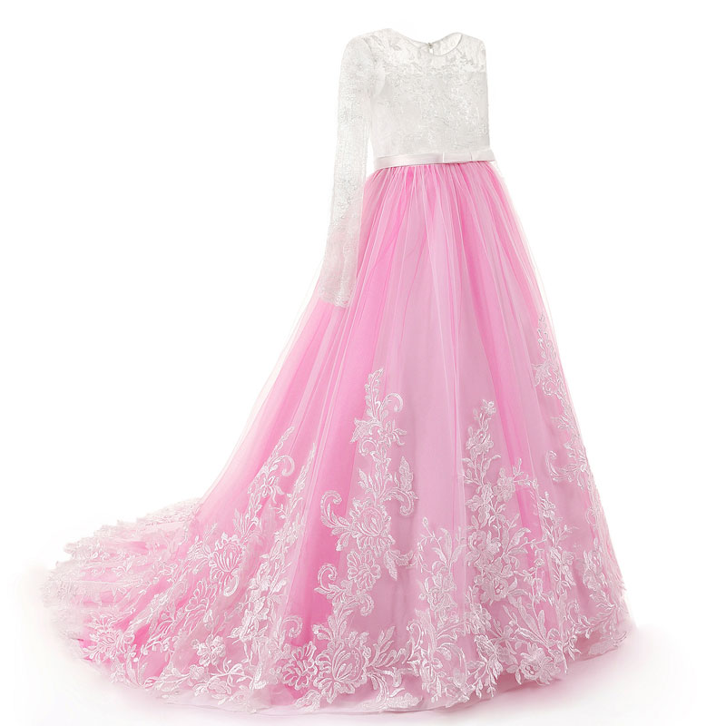 Girls Dress Elegant Long Noble Kids Girl Dresses Lace Princess Dress Children Party Wedding Dresses 2017 spring girl lace princess dress 2 14y children clothes kids dresses for girls long sleeve baby girl party wedding dress