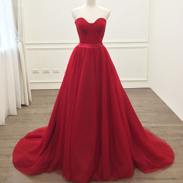 d03571fd17 2018 Hot Sale Red Prom Dress A line Tulle Sweetheart Prom Gown Floor length  Long Vestidos de fiesta Party Dresses