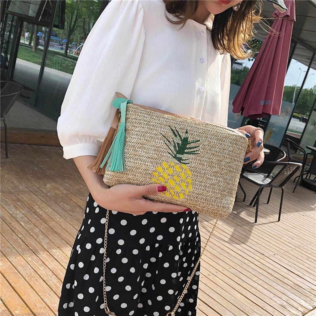 女性のメッセンジャーバッグリベットチェーンショルダーバッグレザークロスボディレディースタッセルパイナップル葉織バッグ