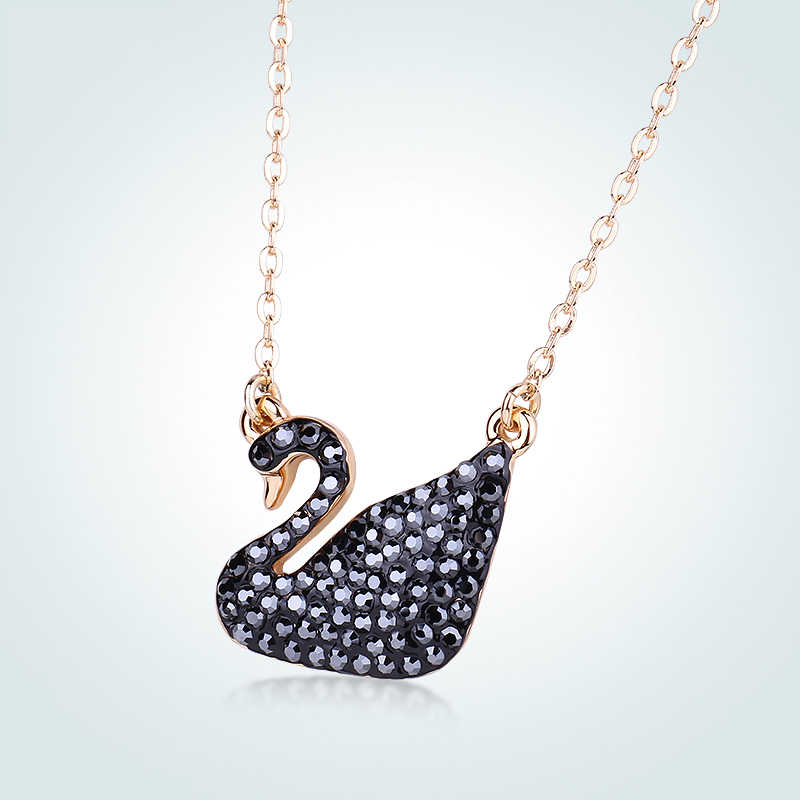 bbbd9da31e4a ... Warme Farben Crystal From Swarovski for Women World Pendant Necklaces  Classic Black Swan Jewelry Birthday Party ...