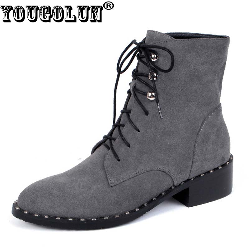 YOUGOLUN Women Ankle Boots Winter Genuine Cow Suede Nubuck Leather Lace-up Square Heel 4 cm Mid Heels Gray Rivets Shoes #Y-245 women winter suede colorful ankle boots fringe rivets short boots square heel women fashion winter tassel boots shoes