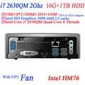 Novo mini pc thin client com Intel Quad Core i7 2630QM 2.0 Ghz 8 fios de computador ubuntu 16 G RAM 1 TB HDD
