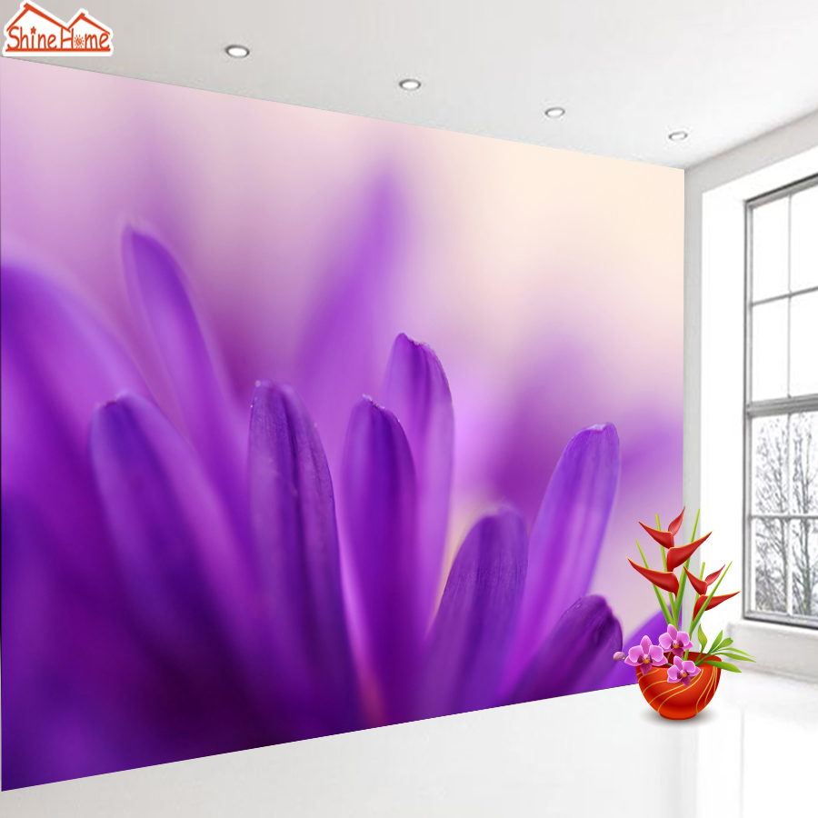 ShineHome-Purple Petal Romantic Flower 3d Wallpaper Mural Wallpapers for 3 d Living Room Non Woven Walls Murals Wall Paper 3d mural papel de parede purple romantic flower mural restaurant living room study sofa tv wall bedroom 3d purple wallpaper