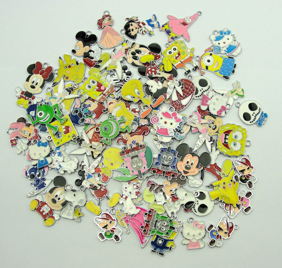 New 50 Pcs Mixed Cartoon Charms Pendants DIY Jewelry Making Free Shipping
