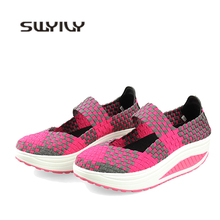 SWYIVY Slimming Women Shoes Lose Weight Woven Sneakers Platform 2019 New Feminino Colorful Light Comfortable Swing Shoe