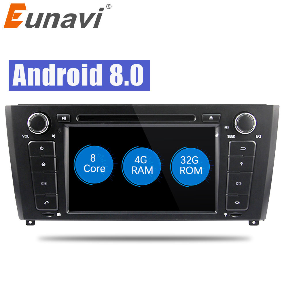 Eunavi 1 din 7 ''Octa 8 Core Android 8.0 Car DVD player GPS Navi Radio Per 1 Serie BMW e81 E82 2004-2012 4g di RAM wifi BT