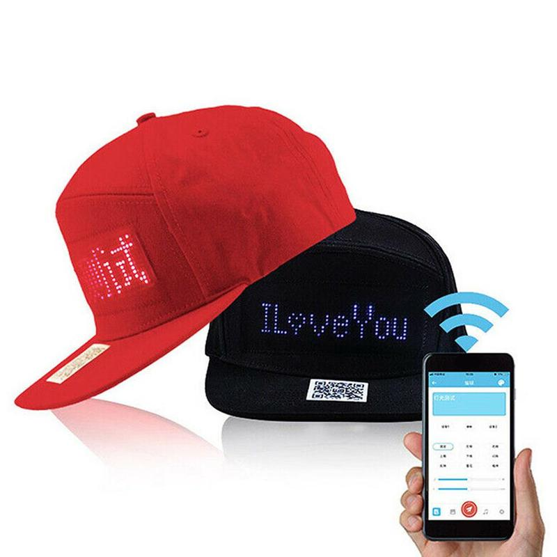 Red/Black Creative Mobile App Operation Led Lights Bluetooth Hip Hop Hat For Party Riding For Men Women Advert Hat