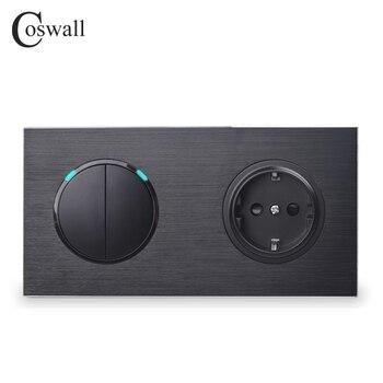 Coswall Black Aluminium Metal Panel 16A EU Standaard Stopcontact + 2 Gang 1 Manier On/Off Light schakelaar LED Indicator