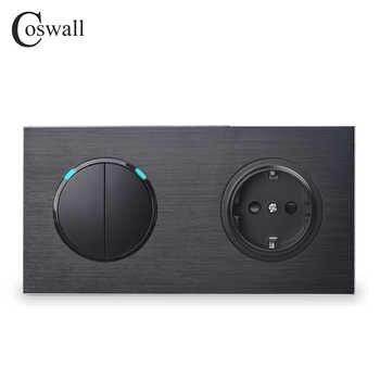 Coswall Black Aluminum Metal Panel 16A EU Standard Wall Power Socket + 2 Gang 1 Way On / Off Light Switch LED Indicator - DISCOUNT ITEM  50 OFF Lights & Lighting