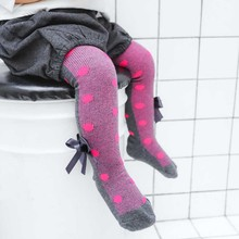 Autumn Winter Kids Girls Warm Tights Cotton Toddlers Clothing Baby Dot Print Bow Pantyhose Knitted Stockings