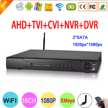 Hi3531A 16CH 16 Channel Two SATA 5 in 1 Coaxial 1080P WIFI Hybrid IP NVR CVI TVI AHD DVR Free Shipping
