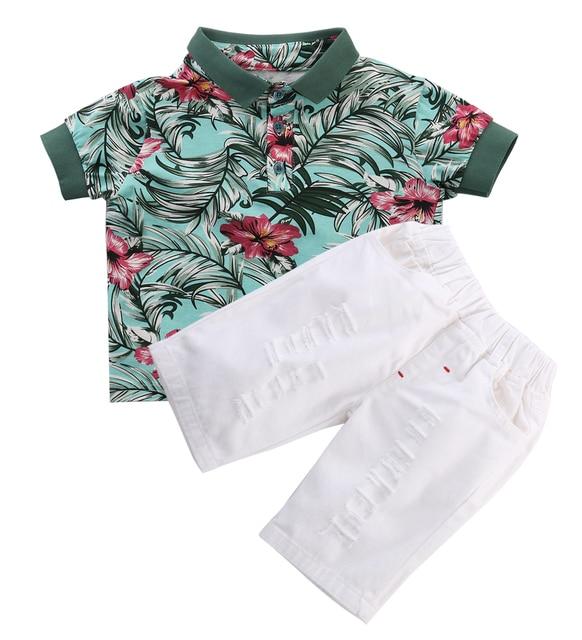 10c744090 2pcs Toddler Kids Baby Boy Fashion Sets Flower Polo Shirt + White ...