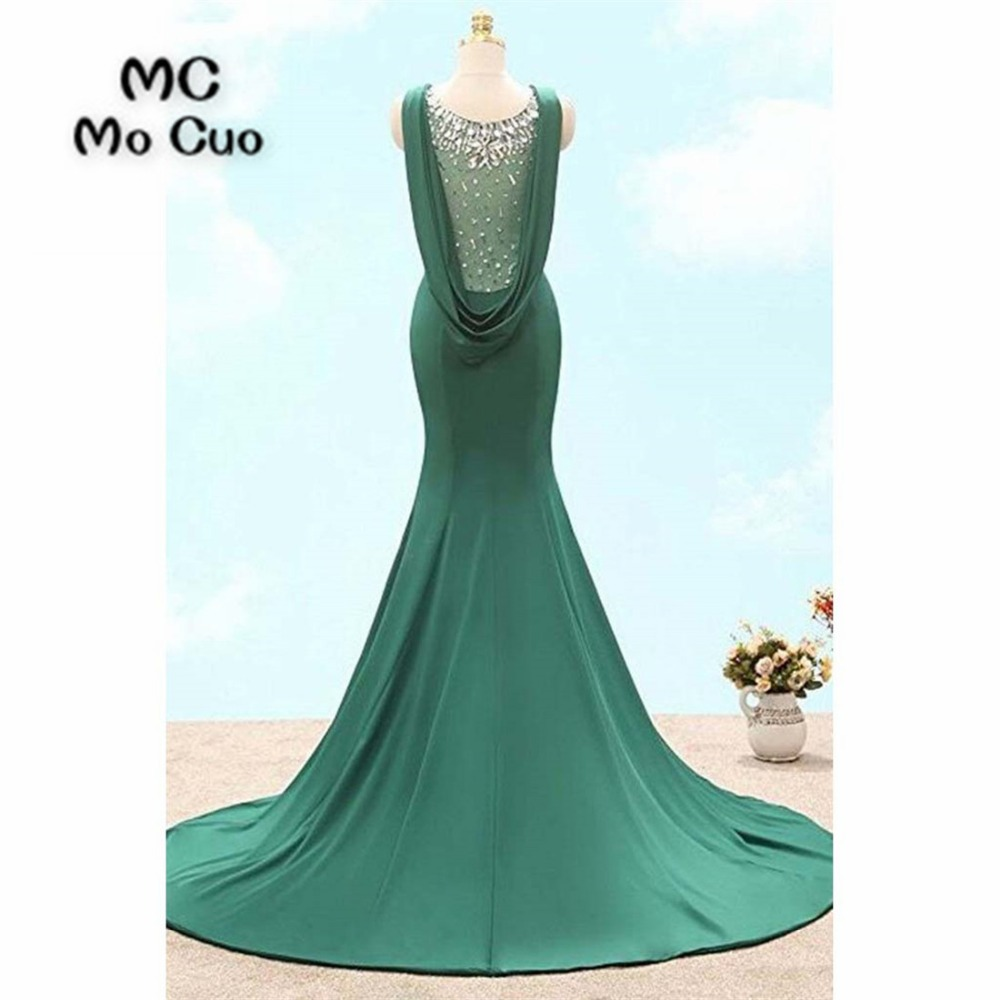 2018 Teal Mermaid   Prom     dresses   Long with Crystals Beaded   dress   for graduation Elastic Satin Formal Evening Party   Dress   for Women