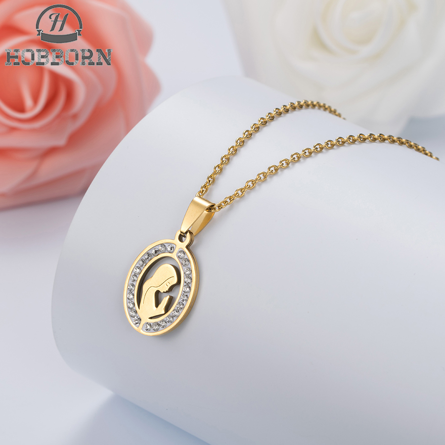 HOBBORN Trendy Women Men Religious Necklace Stainless Steel Gold Color CZ Crystal Virgin Mary Maria Necklaces & Pendants Jewelry