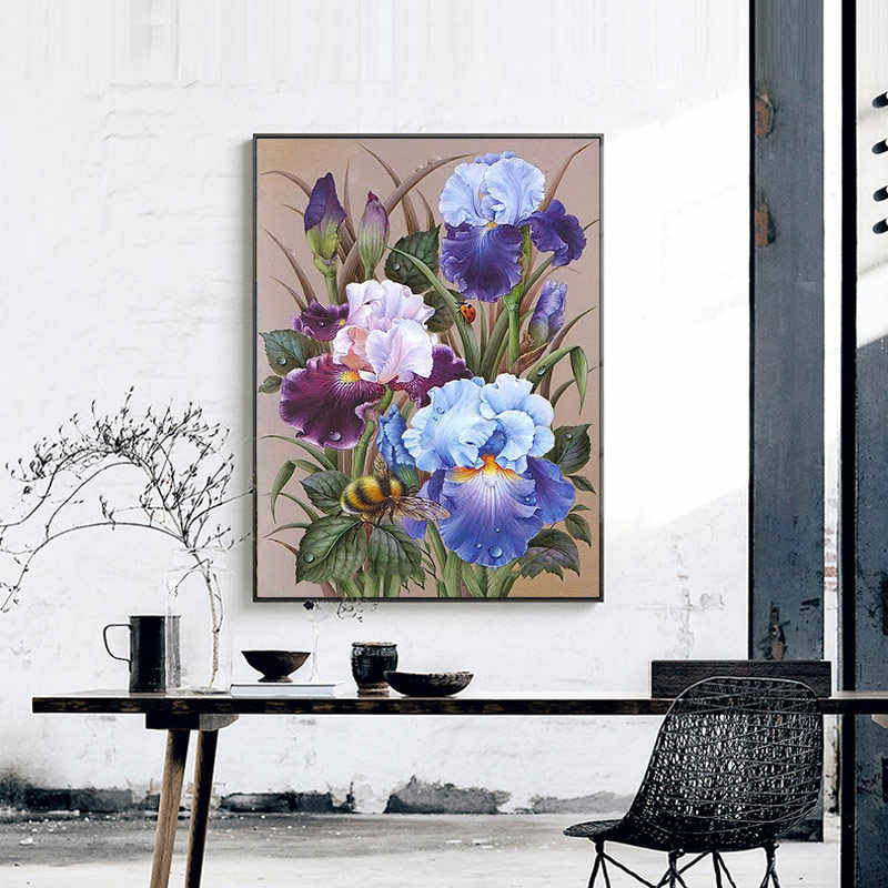 Meian Bordir Kit 14CT Bunga Indah Benang Katun Lukisan DIY Menjahit DMC Tahun Baru Dekorasi Rumah VS- 0009
