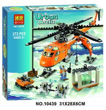 Hot 2016 NEW Bela 10439 273pcs Arctic CITY Set Helicopter Husky compatible building block toys for Children