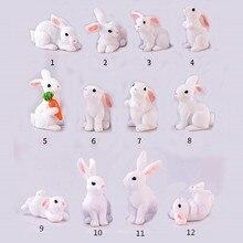 1 Pcs 12 Style Rabbit Easter Decoration Miniature Hare Animal Figurine Resin Craft Mini Bunny Garden Ornament DIY Accessories