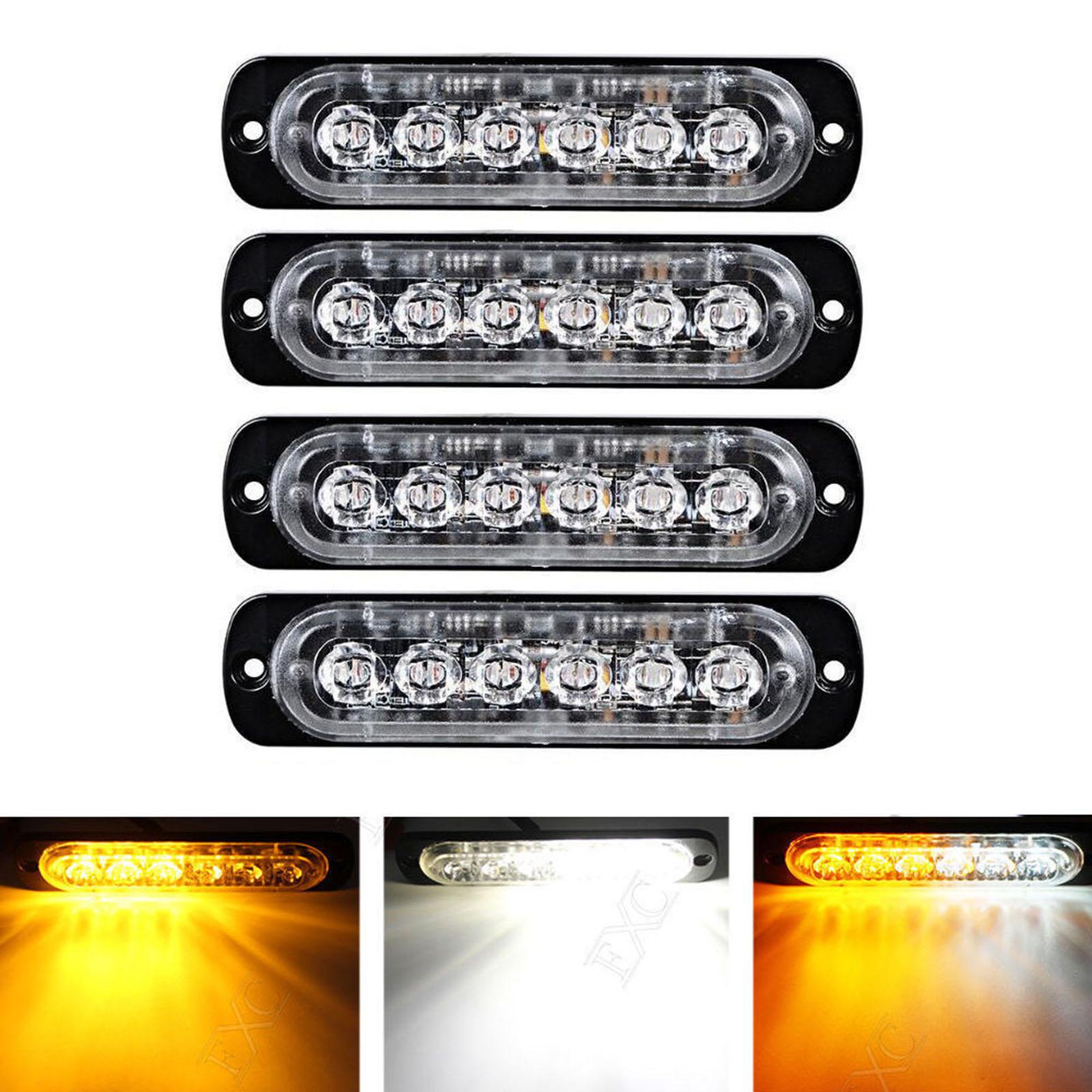 Mayitr 4X Car Truck 6 LED Light Flash Emergency Hazard Warning Amber + White Lamp 18W with Screws