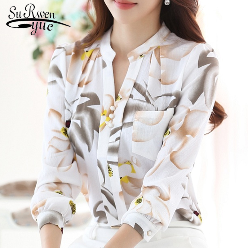 Fashion Women Tops 2019 Ladies Tops V-Neck Slim Chiffon Blouse Shirt Office Work Wear Women Shirts Plus Size Blusas 882G 25