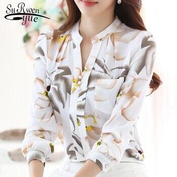 Fashion women tops 2019 ladies tops V-Neck Slim Chiffon blouse shirt Office Work Wear Women shirts Plus Size Blusas 882G 25 1