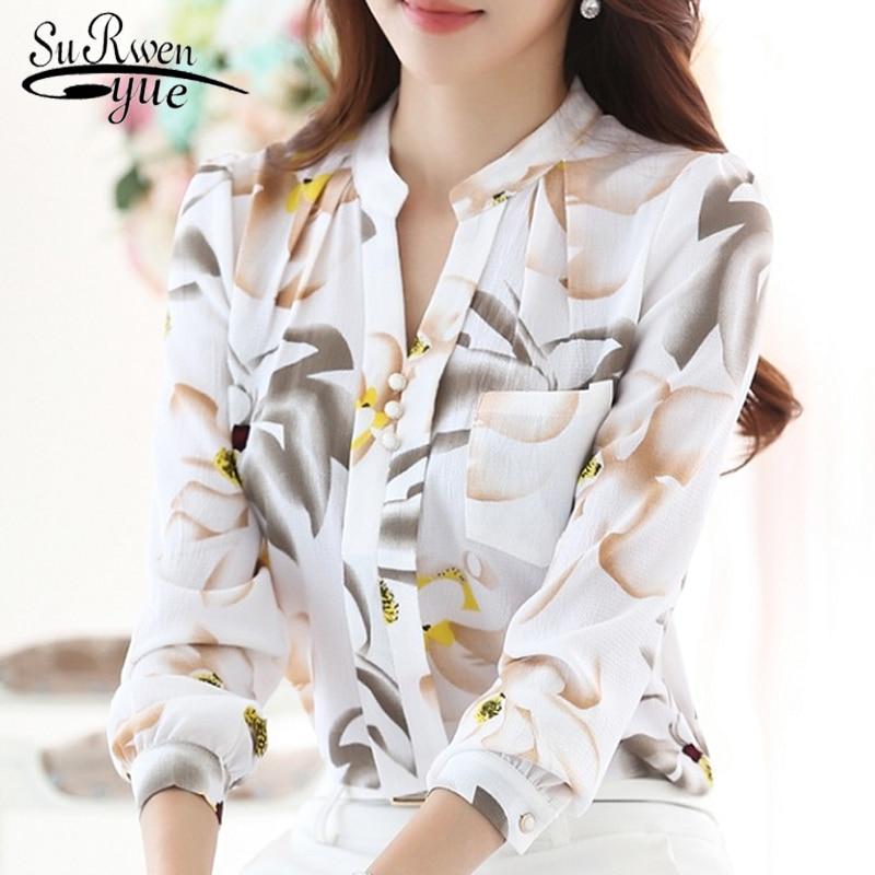 Fashion women tops 2019 ladies tops V-Neck Slim Chiffon blouse shirt Office Work Wear Women shirts Plus Size Blusas 882G 25