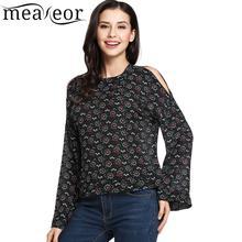 Meaneor Cold Shoulder Women Hoodies O-Neck Long Sleeve Top Sweatshirts Print Loose New Chiffon Pullover Fashion Sweatshirt