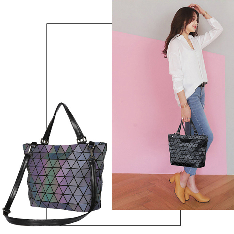Nevenka Women Luminous Handbag Leather Shoulder Bag Women Geometric Handbags 2018 Large Tote Bag for Women Leather Crossbody Bag04