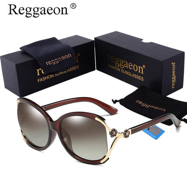 a0571b7c7efe3f Reggaeon Vrouwen Gepolariseerde Zonnebril Luxe Merk designer Oversize Bril  Meisjes Gradiëntkleur Goggle Mode bloem Eyewear