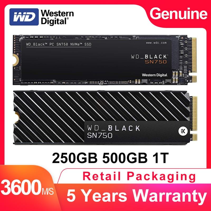 WESTERN DIGITAL WD BLACK SN750 SSD 250GB 500GB 1TB M 2 2280 NVMe PCIe Gen3 4