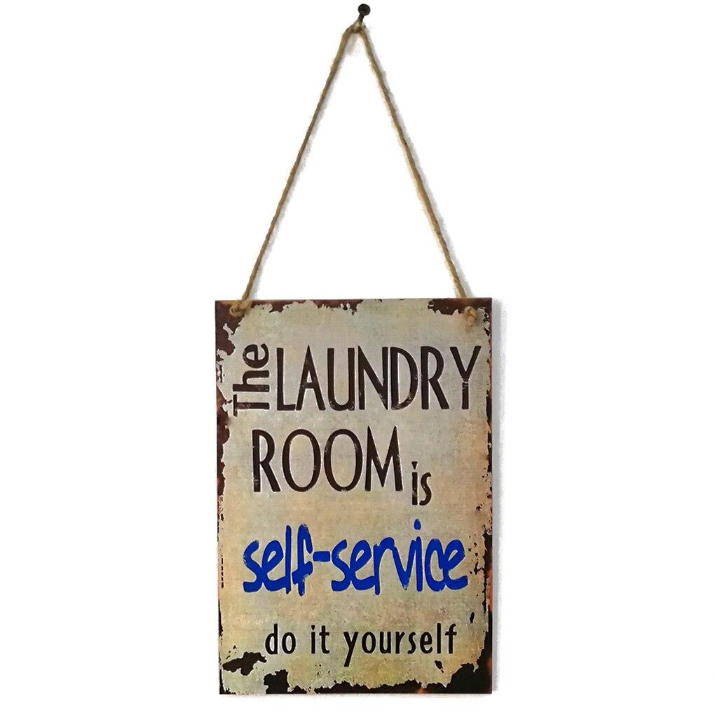 Прачечная Laundry Room планка самообслуживания буквы деревянная доска стене висит уведомление Панель Предупреждение знак Налет Декор