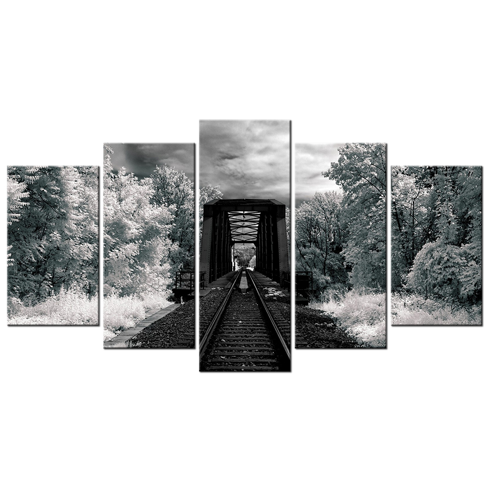 Black And White Landscape Canvas Wall Art Extended Rails In The Forest Wall Pictures 5 Piece Home Decor Modern Printed Artwork