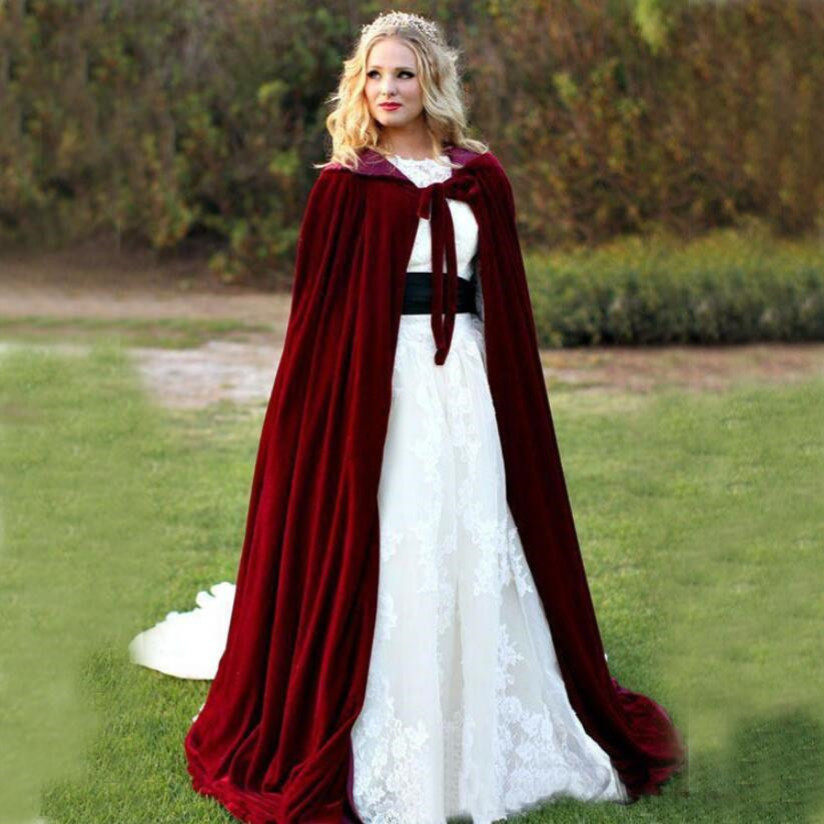a26695d3eedd5 Winter Thick Velvet Long Bridal Cape Cloak with Hat for Wedding Jacket Coat  Shawl Off White
