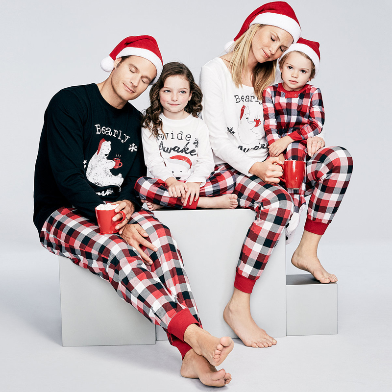 Mother Father And Daughter Son Family Matching Clothes Sets Bear Plaid Pajamas Dad Mom Mama Mommy Baby Christmas Family Look babar and father christmas