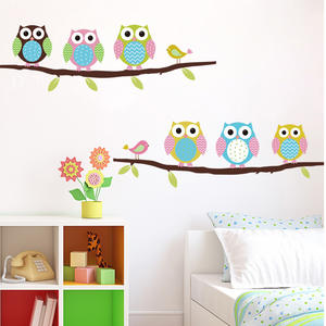 Cute Owl On Tree Wall Sticker Muraux Kids Room Decoration Wallpaper Wall Decals Adesivo