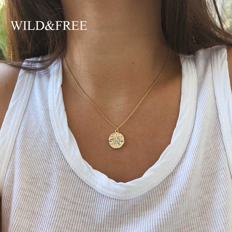 Wild&Free Hot New Sun Necklace For Women Gold Color Chain Choker Round Pendant Necklace Collar Jewelry Gift Bijoux Femme