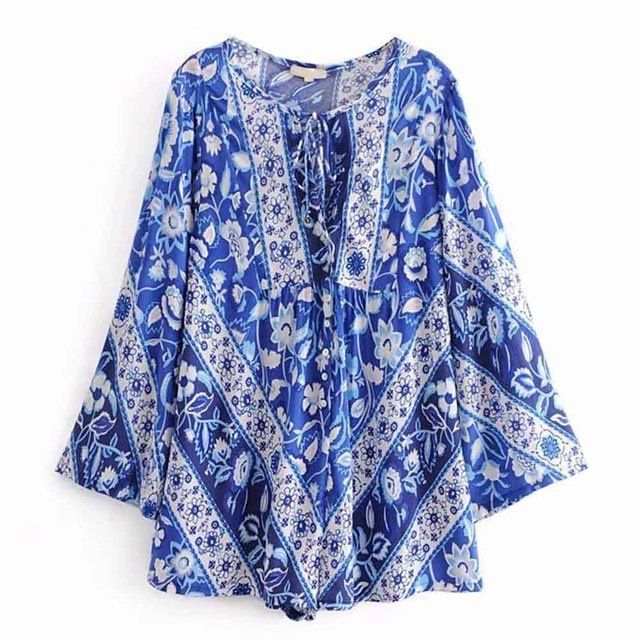f0f6b97d11be FIRSTTO Vintage Ethnic Location Blue White Floral Print Lacing up Bow Bell  Bodysuit Overalls Romper Long Flare Sleeve Playsuits