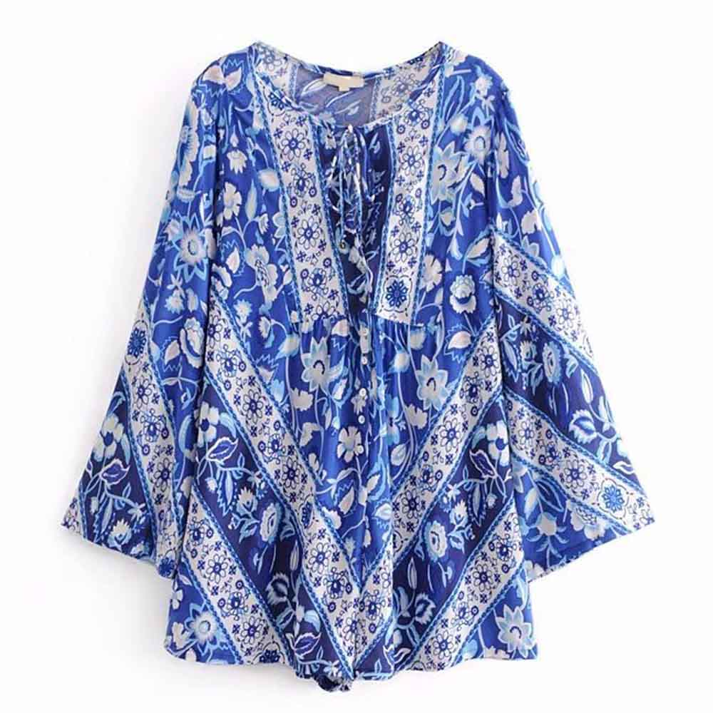 FIRSTTO Vintage Ethnic Location Blue White Floral Print Lacing up Bow Bell Bodysuit Overalls Romper Long Flare Sleeve Playsuits ...