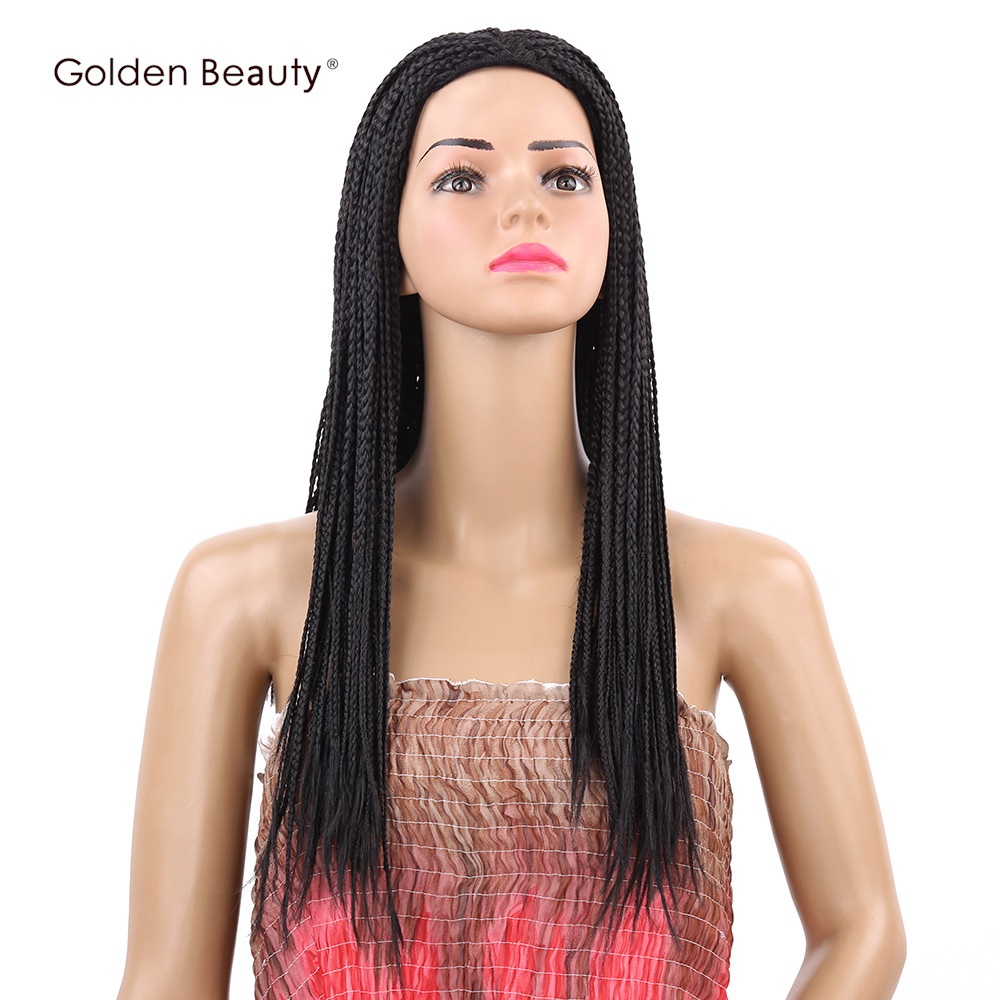 Golden Beauty 22inch Box Braid Wig Long Black Synthetic Hair Wig Side Part Hairline with Breathable Cap