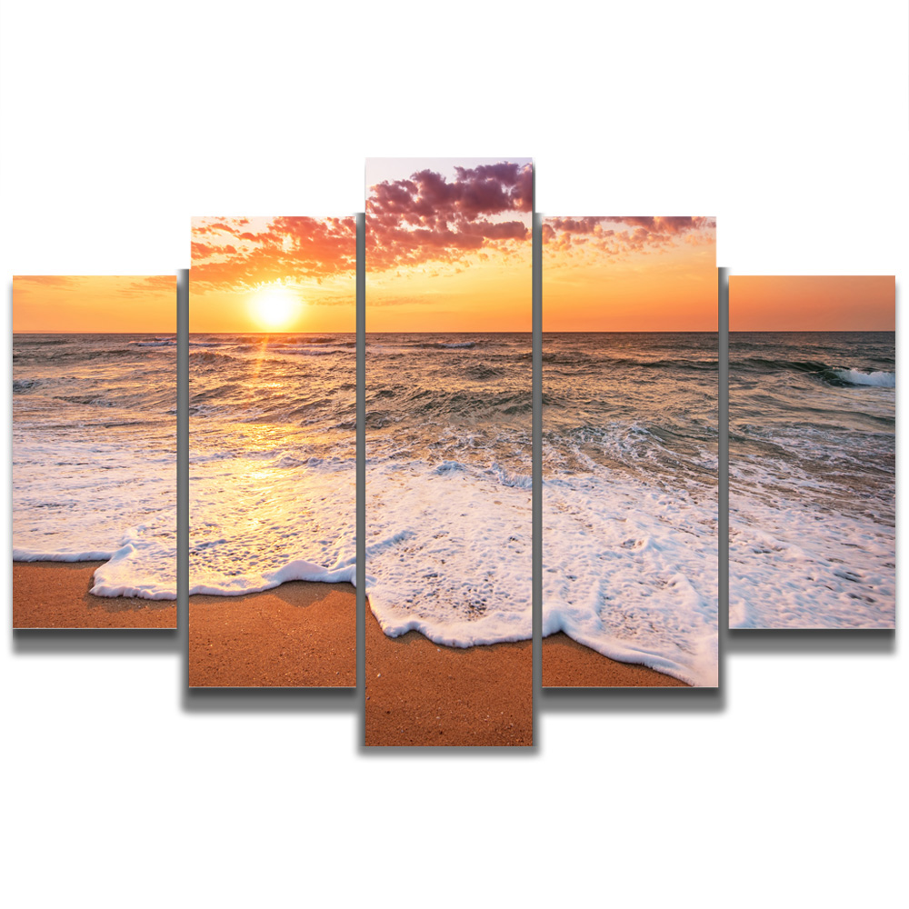Unframed Canvas Painting Sunset Beach Waves Sea Level Photo Picture Prints Wall Picture For Living Room Wall Art Decoration