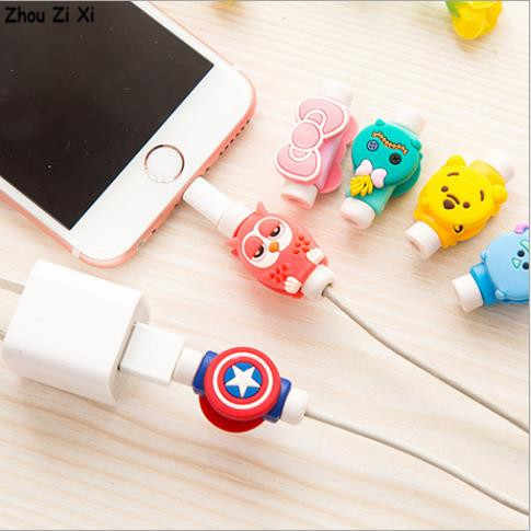 Marvel Avengers Captain America Shield Spider Man Iron Man Batman Superman Ponsel Kabel Anti-Kerusakan Perlindungan Coiler