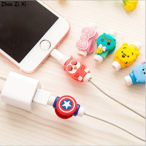 Marvel Avengers Captain America Shield  Spider Man Iron Man Batman Superman Mobile Phone Cable Anti-breakage Protection Coiler
