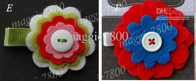 "2"" Baby flower felt hair bows hair clip baby Girls' Hair Accessories felt hair clips hairbows 120 pieces /lotB002"