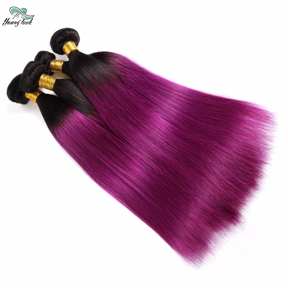 Young Look Hair Peruvian Non Remy Hair Extension 2 Tone Ombre Hair Weave T1B/PURPLE Straight Bundles Free Shipping