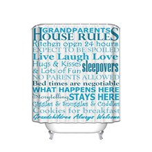Art House Rules Family Love Large Shower Curtain Quotes Decals Home  Lettering Art Sayings Fabric Shower