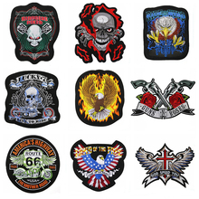 Fine Bikers Motorcycle Embroidered Iron On Patches Large Punk Skull Badges Big Biker For Clothing Coat Accessories