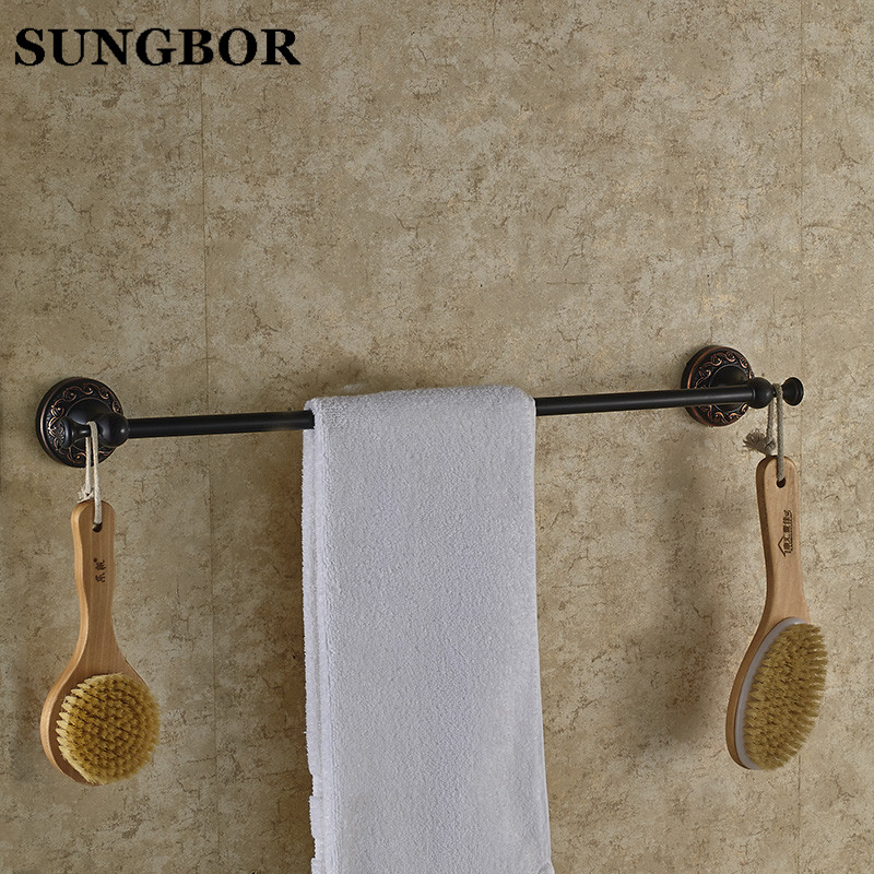 ФОТО Black bronze antique towel bar full of copper bathroom accessories towel rack single lever GJ-8412H